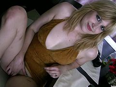 She is naughty amateur girl with curvy body. She flashes her tits rubbing them seductively. Then she slides her hand under her skirt caressing wet pussy.
