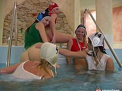 Welcome to a pool party where you will find five spoiled lesbians. These girls make each other cum with their tongues and dildos. Check this hot orgy to see what else these sporty lesbians are up to.