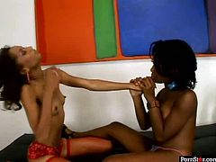 Spoiled ebony girls with small tits Mya Mason and Vixen Fyre get together to explore each other's naked bodies. Press play to see what else these girls are up to.