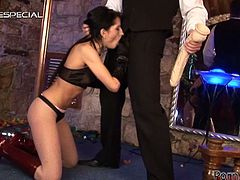 There's no comparison when it comes to choosing what this brunette stripper sucks and what she takes in her pussy, so check out this free tube video to see what, between a cock and a monster dildo, goes in which hole.