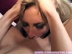 Two rapacious blond whores hook up for steamy lesbian sex orgy. One of them lies on the couch with legs wide open while another whore is busy tongue fucking her vagina.