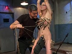 Cute blonde Penny Pax is having some fun with her BF. She allows him to play with her snatch, pinch her tits and then gets her butt beaten with a stick.