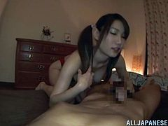 This lusty and horny Japanese slut loves it all slippery! She is wearing a swimsuit, but it is not a barrier for her man to poke her twat!
