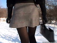 Blowjob lover Electra is pumping cock outdoor in winter