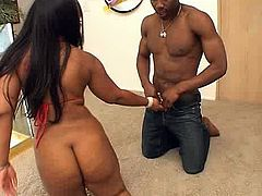 Black girl with big firm ass likes to have wild sex with men. Luckily for her we have a volunteer for that kind of thing. Horny dude knows exactly how to make this chick happy. He puts her down on all fours and shoves his massive dick deep inside her twat. He pounds her ruthlessly in and out loosening up her once tight hole. Then she retutns the favor with a blowjob.