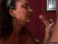 Skanky juggy brunette mature is a real sex pro. She squts down in front of young lover to give him deepthroat blowjob before she rides a strain dick reverse cowgirl.