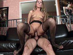 Check out this hardcore video where the sexy blonde milf Sara James takes a pounding from a horny guy until getting a creampie while wearing fishnet stockings.