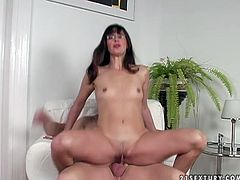 Horny aunty sits on couch with her legs wide open. Horny guy inserts his fingers in wet clam tickling clitoris with tongue. Then, passionate mom rides hard stick like crazy.