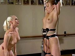 Jessie Cox is playing dirty games with Lorelei Lee in a basement. Lorelei binds Jessie, beats her and then fingers and toys her snatch.