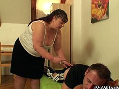 Wife leaves and fat mom-in-law doesn't think twice before sucking his cock and opening her legs for a good fuck.