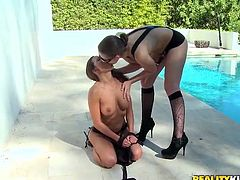 Stunning girls in black lingerie and high heels make an amazing lesbian show. They lick and then finger their pussies in beautiful scenes.