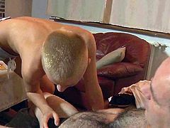 Zealous slender short haired chick is rather cutie. Kinky girlie with rounded appetizing butt seduces her old neighbor, as soon as she comes to his house. Spoiled girlie thirsts to ride and suck his still stiff dick right on the couch for orgasm. Check out ardent nympho in Oldje sex clip and jerk off till you jizz.