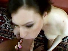 Hot tempered dude fucks appetizing brunette on the table. He penetrates her ass hole in missionary style and makes her peachy tits bounce. later she stands on her knees and swallows cock.