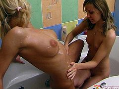 What could be better if not two girls taking bath together? Enjoy tasty looking brunette teens with nice peachy tits who wash each others slits to dive right in.
