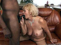 Elegant blonde granny is going naughty in front of camera. She fondles her pussy warming up so sex. Then, black young stud thrusts his dick in her mouth making her suck it deepthroat. Later she is screwed bad doggy style.