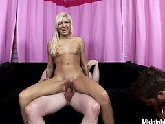 Dude, just don't pass by this hot like hell Pornstar sex clip. Amazing blond harlot with natural tits goes wild while having hot threesome. Wondrous nympho is a great sex pro, who enjoys both riding and sucking strong fat dicks passionately.