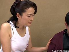 A busty Japanese MILF called Eiko Katou is going to enjoy herself as she gets her pussy eaten and fucked hard.