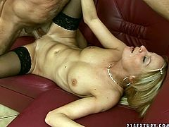 Voracious blonde chick with small tits Valery is into older guys with sexual experience. So she opens her legs before the old fart. He enters her tight twat in a missionary position getting screwed deep.