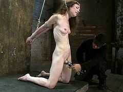 Crazy slut gets whipped and tortured in a basement