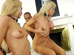 Turned on cock addicted blonde nymphos Ellen Lotus and Logan with heavy make up and natural tits tease tattooed black bull Kid Jamaica and fight over his meaty stiff pecker.