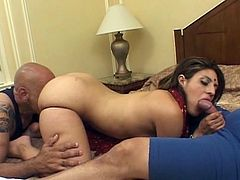 Horny Indian slut fucked in threesome as she gets shared by these thick hard cocks for one satisfying fervent encounter.