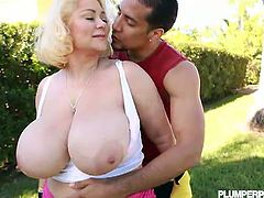 See the horny blonde BBW Samantha 38G showing her hot tits before giving her man a hell of a blowjob in the backyard. Then she's ready to get her cunt banged doggy style into kingdom come.