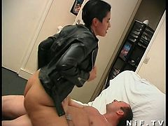 Watch a vicious French brunette belle giving her man a hell of a blowjob without taking her leather jacket off. Then it's time for her hairy clam to be banged deep and hard into a breathtaking orgasm.