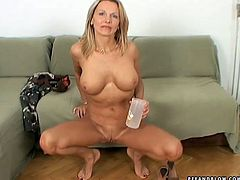 Buxom blonde pees and gets her sweet pussy fingered