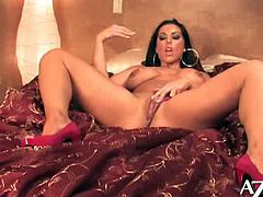 Brianna Jordan is a stunning brunette with huge melons and nice round ass. She takes her sexy lingerie and starts rubbing her pussy for you!