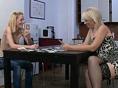 See what happens when a naughty and naive cute teen belle loses a poker game with her boyfriend's mother. The vicious milf can't wait to enjoy her sweet pink pussy and dildo it into ecstasy with a big toy.