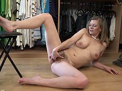 A horny-ass old cunt gets fucking naked, lies on the floor and starts fingering her pink-ass fucking pussy, hit play and check it out!