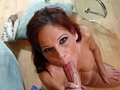 Hot redhead milf Syren De Mer goes nasty when having huge dick in her mouth