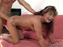 Luscious mature mommy is riding hard stick of young stud in reverse cowgirl position. Then she stands on her all four getting hammered bad in her twat doggy style. She screams like crazy.