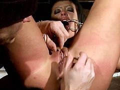Amanda Bleack is involved into hardcore bdsm action on the cage. She got her pussy stretched wide by his stiff cock and moans loud!