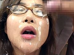 Adorable japanese babe gets fucked right and filled with jizz in bukkake orgy