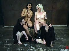 There's cock torture, face sitting and pegging in this femdom foursome with dominant Lorelei Lee and Mika Tan.