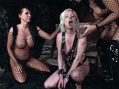 Three insatiable lesbians hook up for steamy lesbian orgy in BDSM style. They wear raunchy latex lingerie and fishnet stockings before they start dildo fucking their soaking bald cunts.