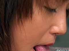 Tasty looking Japanese hottie polishes weak penis gently before it becomes sturdy so she can start sucking it zealously. Later she give riming to anal hole of aroused wanker in sizzling hot Jav HQ sex video.