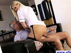 Hot amateur in lingerie riding old man dick