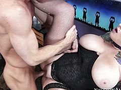 Tattooed busty brunette in black stuff can turn even the overused missionary style into a super hot sex adventure. Gorgeous booty though pale bitch loves sucking a cock for sperm and provides a lucky bastard with a super stout blowjob right away.
