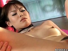 This hot Japanese girl is ready to take two for the price of one! Watch her getting banged from both ends before these dudes take turns banging her hairy pussy into kingdom come.