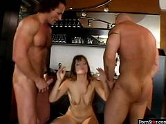 At first two horny studs attack pussy and mouth hole of one insatiable pornstar. Later she jerks off theirs cocks and gets messy facial.
