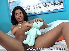 Sweet latina babe with superb boobs likes teasing while posing on cam