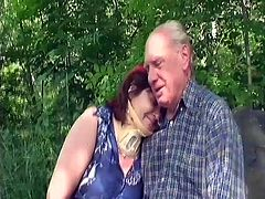 While taking a walk this senior couple decides to get nasty in the great outdoors. Ivana gets down on her knees and sucks off the old man. Then, they lay down in the grass so he can put his wrinkled cock inside her. Will grandpa gonna get wild and fuck her hard?