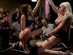 Watch this massive bondage video where these hotties have a great time being tortured and humiliated in front of many people.