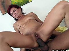Voracious granny gets on top of hard dong of young stud. She rides the tool actively. Despite her age she is pretty energetic.