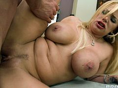 Big ass blonde milf receives a hard dick to pound her shaved holes in anal hardcore