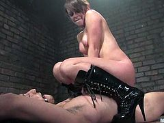This tied up dude is going to get his butthole fucked by Penny Flame's strapon dildo in this femdom clip with kinky BDSM action.