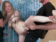 This sexy blonde girl is a sex slave. She is in the desert, so no one can help her. She gets gangbanged and double penetrated by group of guys every single day.