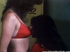 See two hot and hairy brunette sluts munching their pussies in this awesome vintage threesome vid. A horny stud get his change to bang those hairy cunts into breathtaking orgasms.